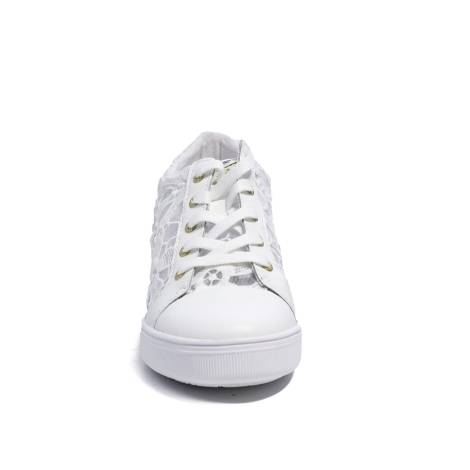 Guess white sneaker with lace and inner wedge model number FLFIN1 LAC12