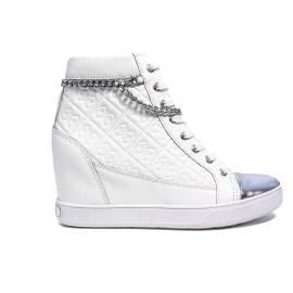Guess sneaker bianca con zeppa interna articolo FLFRI1 LEA12 WHITE furia pelle