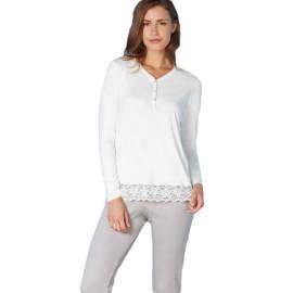 Andra pigiama donna Art. 7736 color bianco e grigio con apertura collo a V e pizzo sul fondo