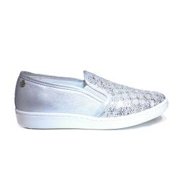 Keys sneaker loafers for women with pailletes silver color article 5051