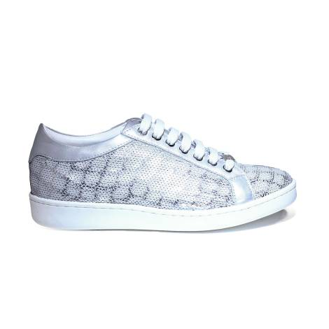 Keys sneaker donna con paillettes color argento articolo 5052