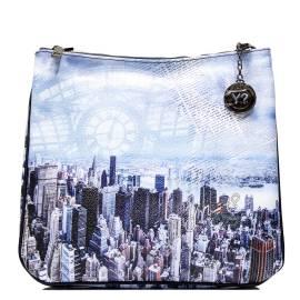 Y NOT? borsa donna ART. H-355 BLU MANHATTAN raffigurante i grattacieli di Manhattan