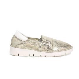 Keys sneaker loafer in leather platinum color article 5075