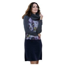 Massana abito donna E657282 color grigio con stampa di fantasia multicolore
