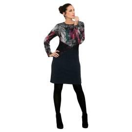 Massana abito donna E657283 color grigio, torso stampa di fantasia multicolore