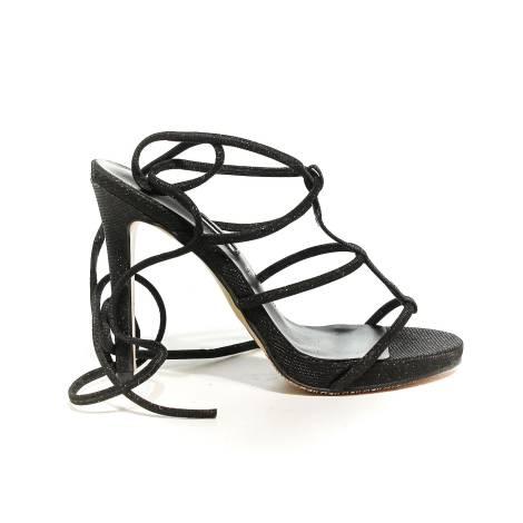 Francesco Milano sandalo con laccio alla schiava e tacco alto colore nero N16-3G-NEY