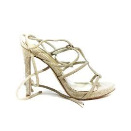 Francesco Milano sandalo glitterato con laccio alla schiava color platino articolo N16-3G-PLY