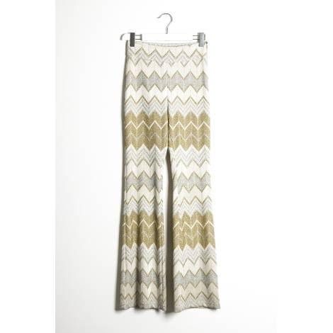 Sandro Ferrone pantalone donna C4 41763 PE17 in maglia lurex con motivo jaquard color oro
