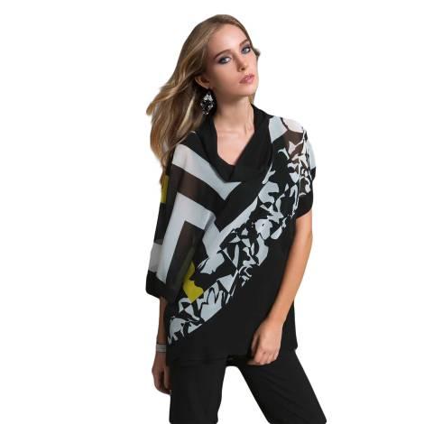 EDAS Luxury SHIBA tunica a chimon stampa selen color bianco e nero