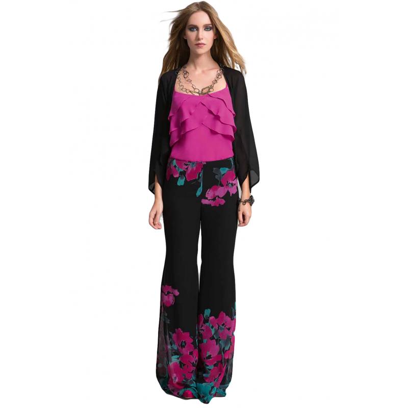 EDAS Luxury FALCHETTO pantalone largo con fiore ad acquarello e66002fefad
