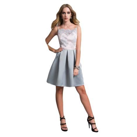 EDAS Luxury abito piega in pizzo DAIRAGO color rosa e grigio