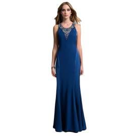 EDAS Luxury abito lungo SLOVEN con gemme sul petto, color blu