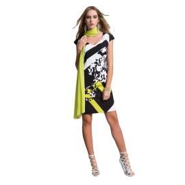 EDAS Luxury abito tubino SHINOBU stampa selen, color bianco, nero e verde