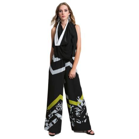 EDAS Luxury SUZUKO pantalone con stampa selen color nero e bianco