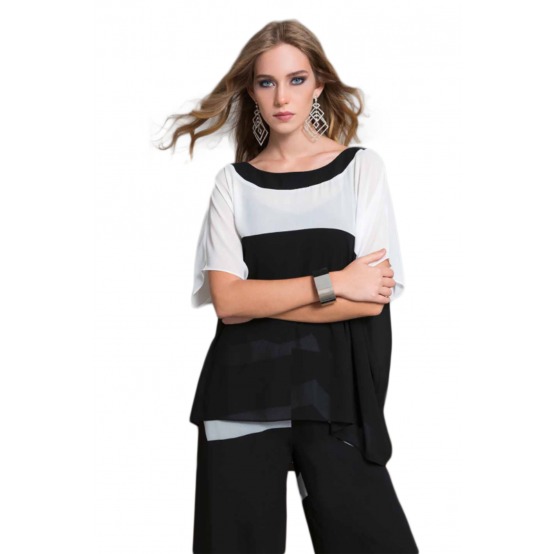 14a513a2fa51 EDAS Luxury casacca donna GALACTIC bicolore nero e bianco