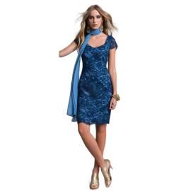 EDAS Luxury abito tubino PINSIR pizzo tecnico color blu