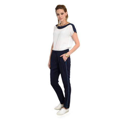 EDAS blusa donna GINOSA maniche corte color bianco e blu