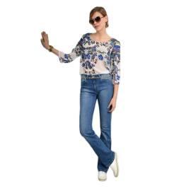 EDAS tunica donna PISEA con stampa floreale, color bianco, blu, verde, fuxia