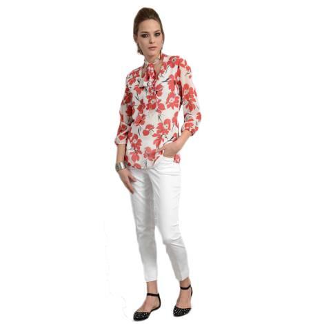 EDAS camicia GHILA con stampa floreale color bianco e rosso