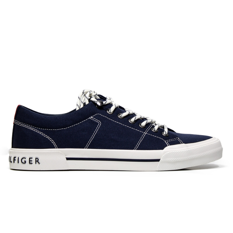Tommy Hilfiger White Shoes With Navy Logo And Navy Laces