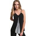 EDAS LUXURY PRISSO top donna color nero con plisse