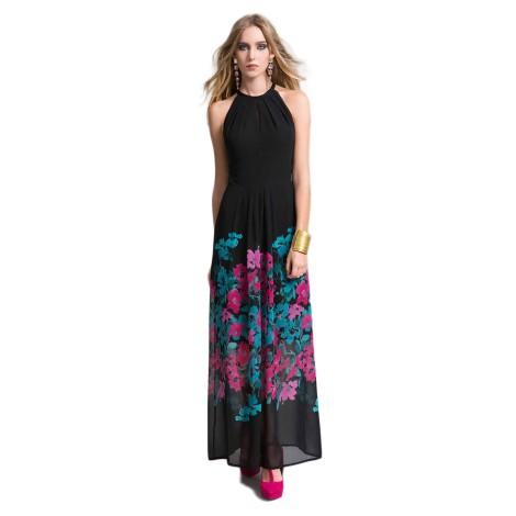 EDAS LUXURY FIABESCO abito lungo donna con fiore acquarello color nero