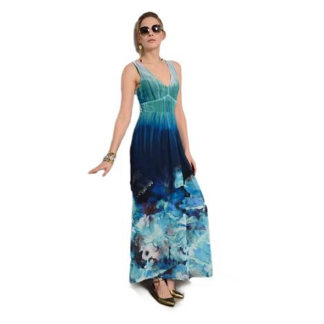 EDAS GAMBINO BLU vestito lungo donna con stampa floreale
