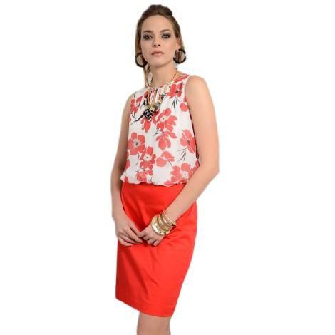 EDAS GIURISTO vestito corto donna con stampa georgette color rosso