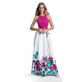 EDAS Luxury FELIX long white-colored dress with flower watercolor