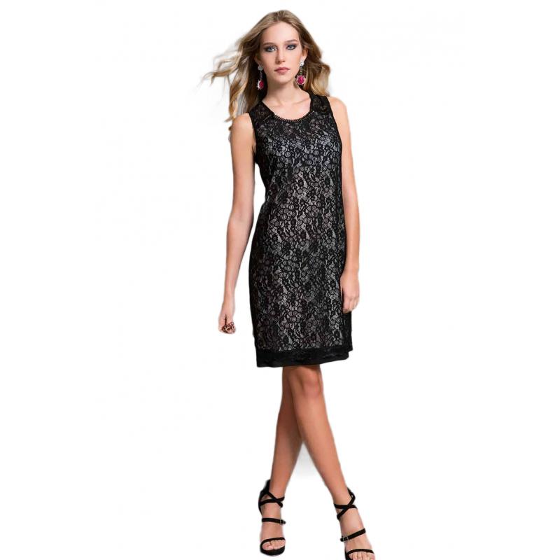 EDAS Luxury JEZIEL abito jersey donna color nero con pizzo a4540ac08bc