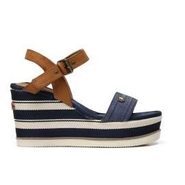 Wrangler WL171661 sandalo donna con zeppa color blu
