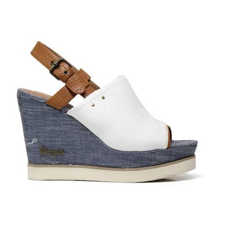 Wrangler WL171683 51 sandalo donna con dorso piede coperto, color bianco, cognac e blu