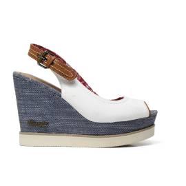 Wrangler WL171682 51 sandalo donna in tessuto e sintetico color blu, bianco e cognac
