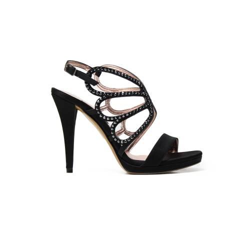 Albano 9147 sandalo elegante donna in tessuto raso latticiato color nero