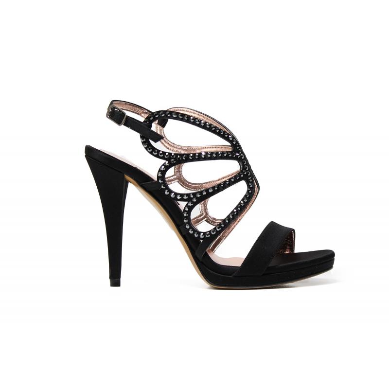 Albano 9147 sandalo elegante donna in tessuto raso latticiato color nero cae0014d8c1