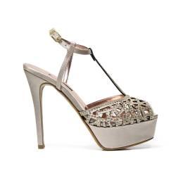 Albano 1737 sandalo elegante donna con inserzione a mosaico con gemme, color beige