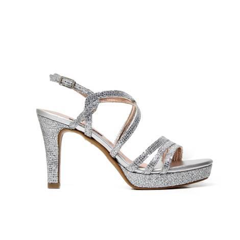 Albano 8897 sandalo donna elegante con texture quadrati color argento