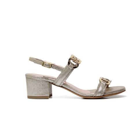 Albano 2107 sandalo elegante donna con tacco basso, color beige