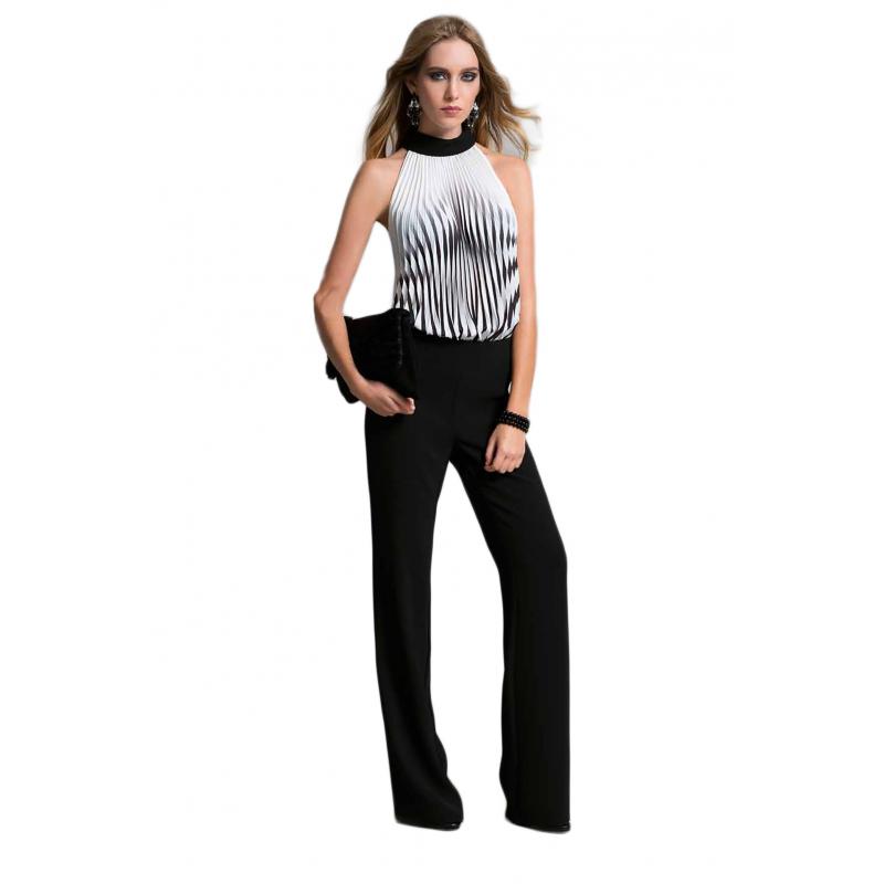 EDAS LUXURY PURISSIMA tuta donna con plisse bicolore bianco e nero d55c1db8879