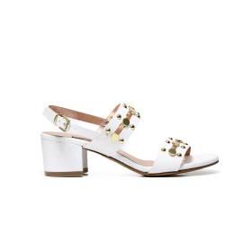 Albano 1357 sandalo elegante donna bianco, con borchie color oro
