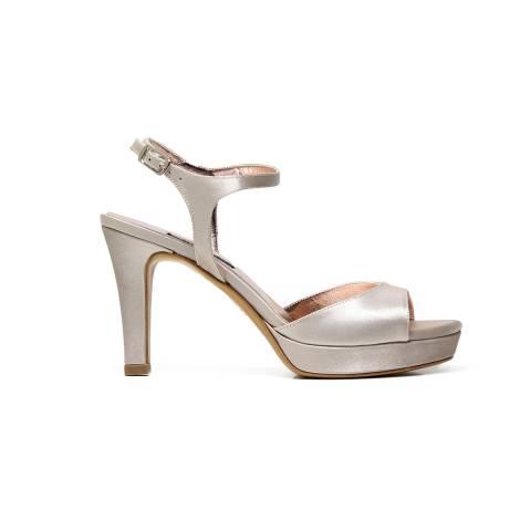 Albano 2117 sandalo donna elegante in tessuto raso color beige