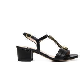 Albano 9697 sandalo elegante donna color nero, con applicazione color oro centrale
