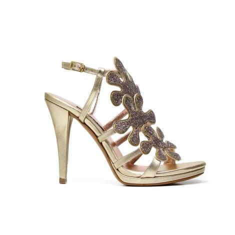 Albano 9877 sandalo donna elegante color platino/oro con decorazione floreale lurex