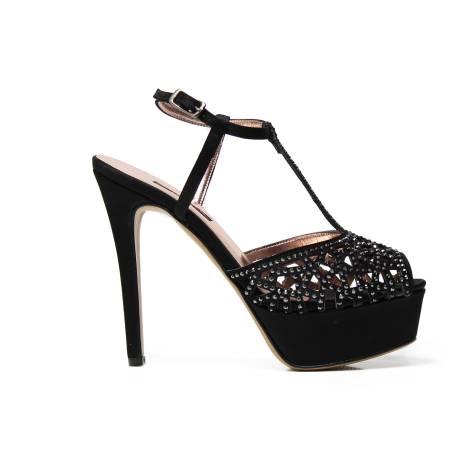 Albano 1737 sandalo donna elegante color nero in tessuto raso