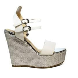 Sandalo con zeppa ata donna colore bianco BRACCIALINI B117 BIANCO