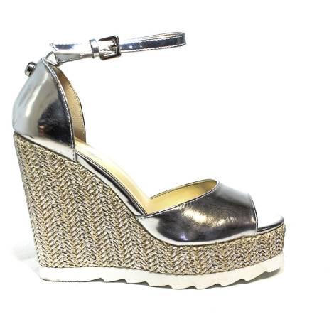 Byblos sandalo con zeppa alta donna color argento articolo 672126 036