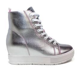 Fornarina sneakers donna in pelle colore argento PE17MJ9543I090 METI-SILVER
