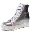 Fornarina sneaker for woman in leather silver color article PE17MJ9543I090 METI-SILVER