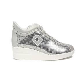 Agile by Rucoline sneaker con zeppa color argento rivestita con paillettes articolo 0226-83032 226 A DORA STAR