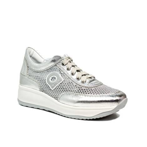 Agile by Rucoline sneaker traforata con zeppa color argento articolo 1304-82983  1304 A NETLAM 7755863df28